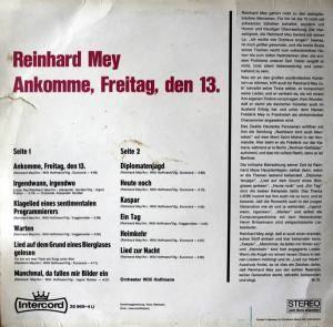 Reinhard Mey: Ankomme, Freitag Den 13. (LP) - Bild 2