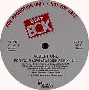 "Albert One: For Your Love (Promo-12"") - Bild 1"