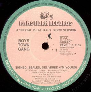 Cover - Boys Town Gang: Signed, Sealed, Delivered (I'm Yours)
