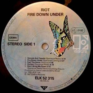 Riot: Fire Down Under (LP) - Bild 2