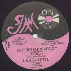 Char Lette You Did Me Wrong Promo 12 1990 Lila Vinyl