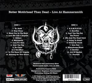 Motörhead: Better Motörhead Than Dead - Live At Hammersmith (2-CD) - Bild 2