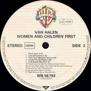 Van Halen: Women And Children First (LP) - Bild 4