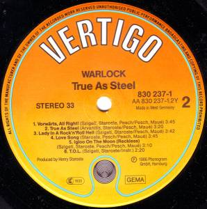 Warlock: True As Steel (LP) - Bild 4