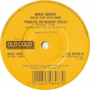 Cover - Mike Berry & The Outlaws: Tribute To Buddy Holly / Look For A Star