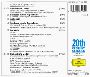 Alban Berg: 7 Early Songs - Piano And Orchestral Versions / Der Wein (CD) - Bild 3