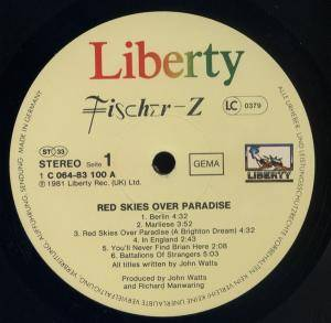 Fischer-Z: Red Skies Over Paradise (LP) - Bild 2