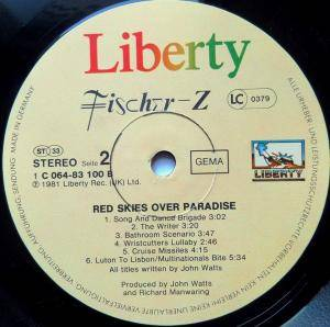 Fischer-Z: Red Skies Over Paradise (LP) - Bild 4