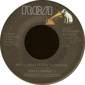 Cover - Gale Garnett: We'll Sing In The Sunshine / You Are My Sunshine