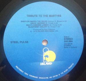 Steel Pulse Tribute To The Martyrs Lp 1979
