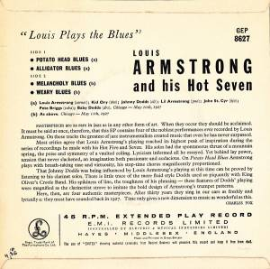 "Louis Armstrong & His Hot Seven: Louis Plays The Blues (7"") - Bild 2"