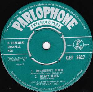 "Louis Armstrong & His Hot Seven: Louis Plays The Blues (7"") - Bild 4"