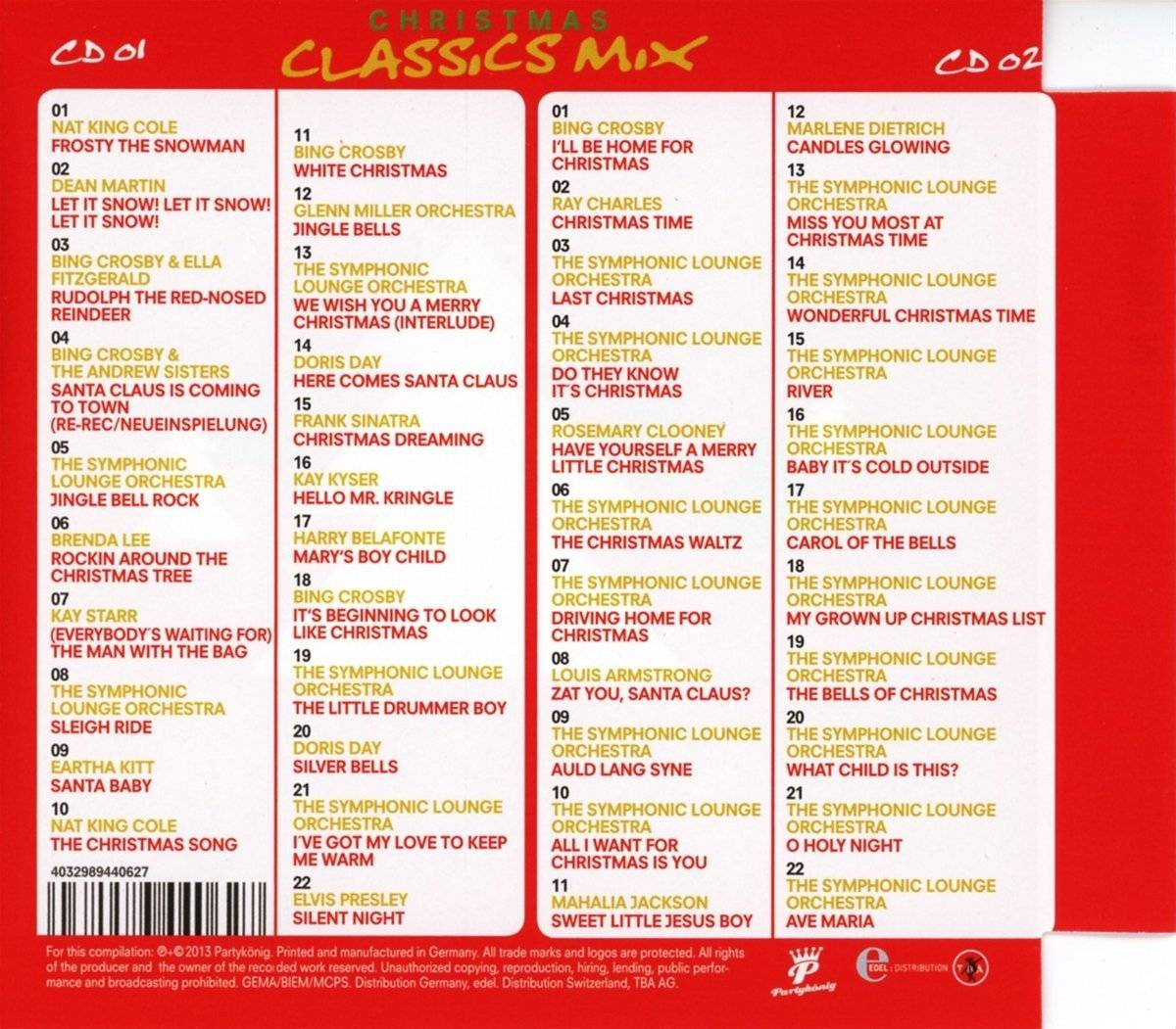 Nat King Cole Weihnachtslieder.Christmas Classics Mix 2 Cd 2013 Super Jewel Case
