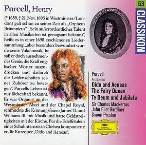 Cover - Henry Purcell: Dido And Aeneas / The Fairy Queen / Te Deum & Jubilate (Auszüge)