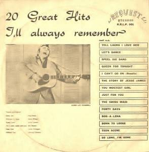 Cover - Ronnie Self: 20 Great Hits I'll Always Remember Volume 1
