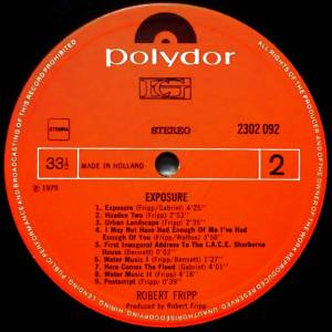 Robert Fripp: Exposure (LP) - Bild 4