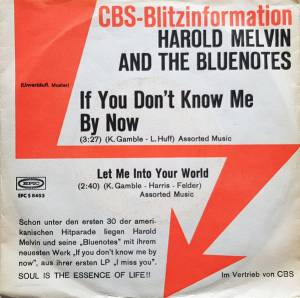 "Harold Melvin And The Bluenotes: If You Don't Know Me By Now (Promo-7"") - Bild 1"