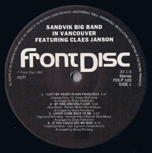 Sandvik Big Band: Sandvik Big Band In Vancouver Featuring Claes Janson (LP) - Bild 3