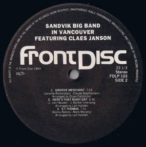 Sandvik Big Band: Sandvik Big Band In Vancouver Featuring Claes Janson (LP) - Bild 4