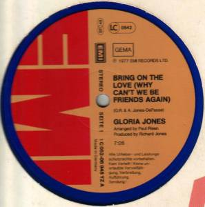 Cover - Gloria Jones: Bring On The Love (Why Can't We Be Friends Again)