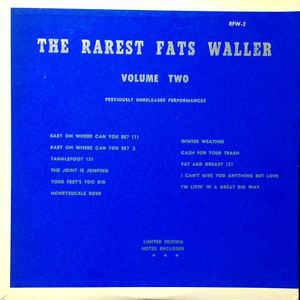 Cover - Fats Waller: Rarest Fats Waller Volume Two, The