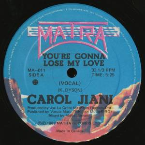Cover - Carol Jiani: You're Gonna Lose My Love
