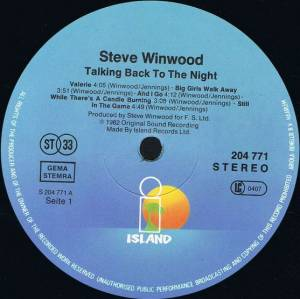 Steve Winwood: Talking Back To The Night (LP) - Bild 3