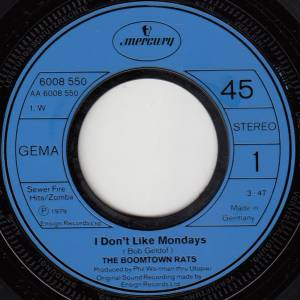 "The Boomtown Rats: I Don't Like Mondays (7"") - Bild 3"