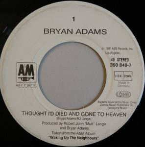 "Bryan Adams: Thought I'd Died And Gone To Heaven (7"") - Bild 3"