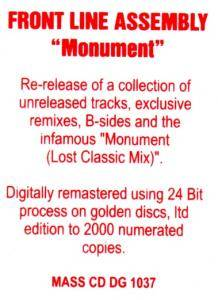 Front Line Assembly: Monument (CD) - Bild 2