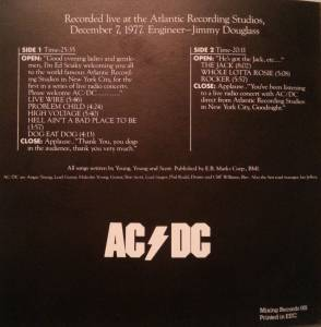 ACDC  Live From The Atlantic Studios at Discogs