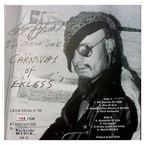 GG Allin And The Criminal Quartet: Carnival Of Excess - Cover