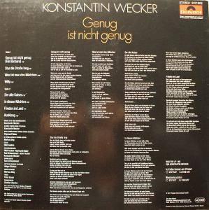 Konstantin Wecker: Genug Ist Nicht Genug (LP) - Bild 2