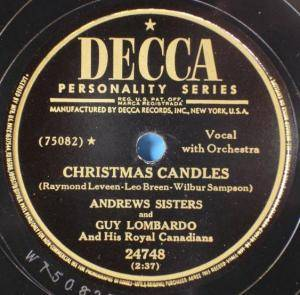 Cover - Andrews Sisters & Guy Lombardo And His Royal Canadians: Christmas Candles / Merry Christmas Polka