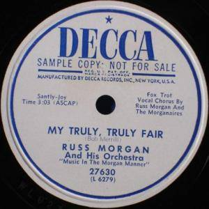 Cover - Russ Morgan And His Orchestra: My Truly, Truly Fair / (Glory Road) I Am Free