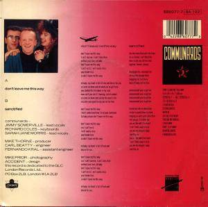 "The Communards: Don't Leave Me This Way (7"") - Bild 2"