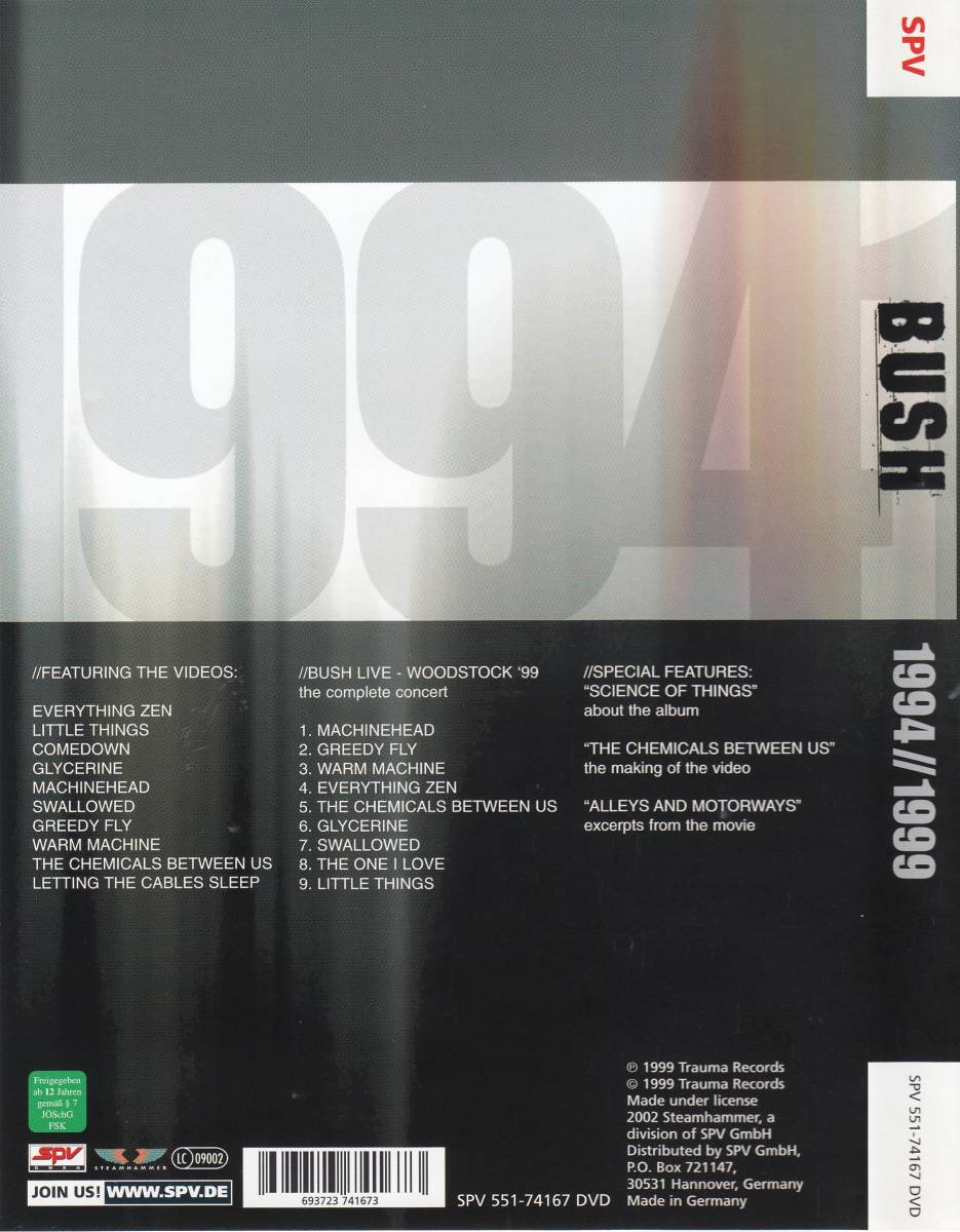 Bush: 1994//1999 - DVD (1999, Best-Of, Live)