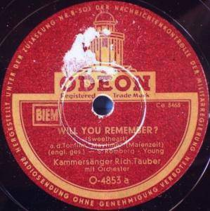 Cover - Richard Tauber: Will You Remember? (Sweetheart)