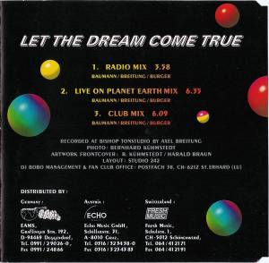 DJ BoBo: Let The Dream Come True (Single-CD) - Bild 2