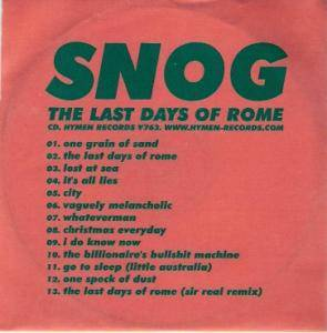 Cover - Snog: Last Days Of Rome, The