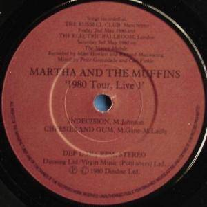 Martha And The Muffins: 1980 Tour, Live - Cover