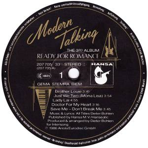Modern Talking: Ready For Romance (LP) - Bild 5
