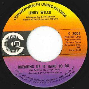 Cover - Lenny Welch: Breaking Up Is Hard To Do