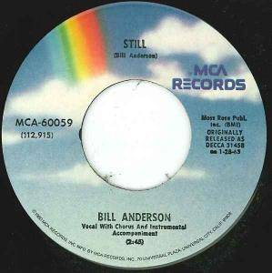 Cover - Bill Anderson: Still / I Love You Drops