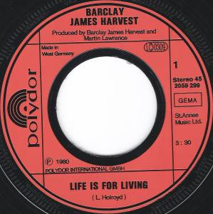 "Barclay James Harvest: Life Is For Living (7"") - Bild 3"