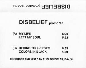 Cover - Disbelief: Promotion Tape '95