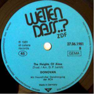 Cover - Harold Faltermeyer: Heights Of Alma / Wetten Dass...?, The