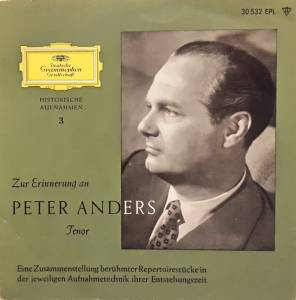Cover - Peter Anders: Zur Erinnerung An Peter Anders