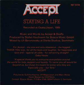 Accept: Staying A Life (2-CD) - Bild 4