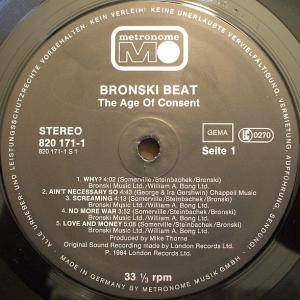 Bronski Beat: The Age Of Consent (LP) - Bild 3